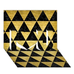 Triangle3 Black Marble & Gold Brushed Metal I Love You 3d Greeting Card (7x5)