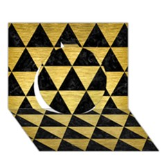 Triangle3 Black Marble & Gold Brushed Metal Circle 3d Greeting Card (7x5)