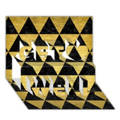 Triangle3 Black Marble & Gold Brushed Metal Get Well 3d Greeting Card (7x5)
