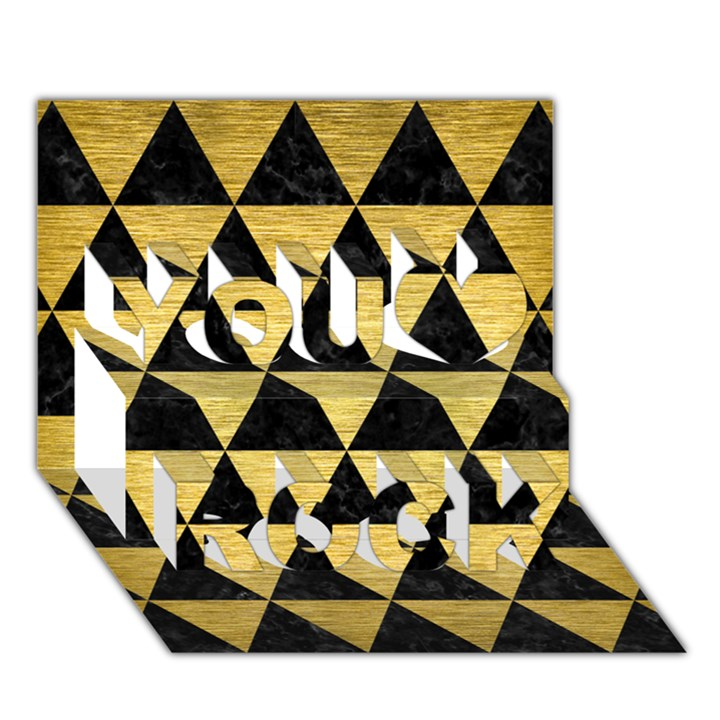 TRIANGLE3 BLACK MARBLE & GOLD BRUSHED METAL You Rock 3D Greeting Card (7x5)