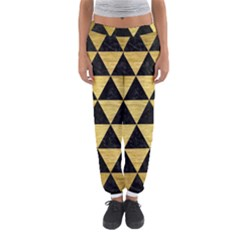 Triangle3 Black Marble & Gold Brushed Metal Women s Jogger Sweatpants