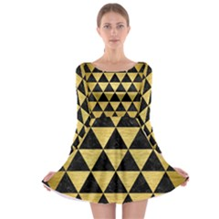 Triangle3 Black Marble & Gold Brushed Metal Long Sleeve Skater Dress