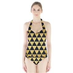Triangle3 Black Marble & Gold Brushed Metal Halter Swimsuit