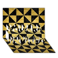 Triangle1 Black Marble & Gold Brushed Metal You Are Invited 3d Greeting Card (7x5)