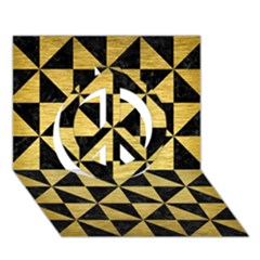 Triangle1 Black Marble & Gold Brushed Metal Peace Sign 3d Greeting Card (7x5)