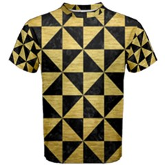 Triangle1 Black Marble & Gold Brushed Metal Men s Cotton Tee