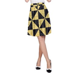 Triangle1 Black Marble & Gold Brushed Metal A Line Skirt