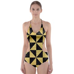 TRI1 BK MARBLE GOLD Cut-Out One Piece Swimsuit