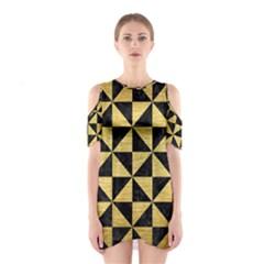 TRI1 BK MARBLE GOLD Cutout Shoulder Dress