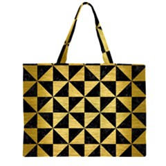 TRI1 BK MARBLE GOLD Large Tote Bag