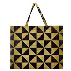 Triangle1 Black Marble & Gold Brushed Metal Zipper Large Tote Bag