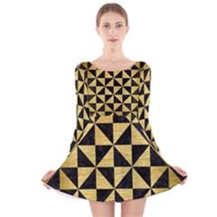 Triangle1 Black Marble & Gold Brushed Metal Long Sleeve Velvet Skater Dress