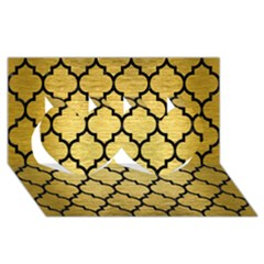Tile1 Black Marble & Gold Brushed Metal (r) Twin Hearts 3d Greeting Card (8x4)
