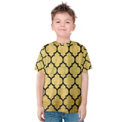 Tile1 Black Marble & Gold Brushed Metal (r) Kids  Cotton Tee