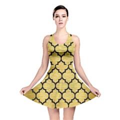 Tile1 Black Marble & Gold Brushed Metal (r) Reversible Skater Dress