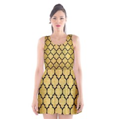 Tile1 Black Marble & Gold Brushed Metal (r) Scoop Neck Skater Dress