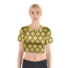 Tile1 Black Marble & Gold Brushed Metal (r) Cotton Crop Top