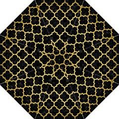 Tile1 Black Marble & Gold Brushed Metal Hook Handle Umbrella (large)