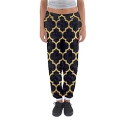 Tile1 Black Marble & Gold Brushed Metal Women s Jogger Sweatpants
