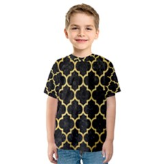 Tile1 Black Marble & Gold Brushed Metal Kids  Sport Mesh Tee