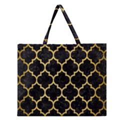 TIL1 BK MARBLE GOLD Zipper Large Tote Bag