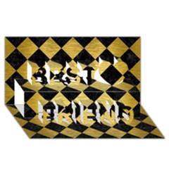 Square2 Black Marble & Gold Brushed Metal Best Friends 3d Greeting Card (8x4)