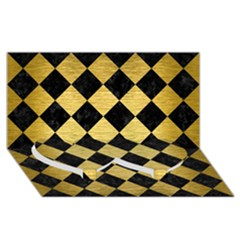Square2 Black Marble & Gold Brushed Metal Twin Heart Bottom 3d Greeting Card (8x4)