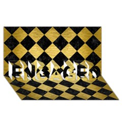 Square2 Black Marble & Gold Brushed Metal Engaged 3d Greeting Card (8x4)