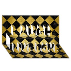 Square2 Black Marble & Gold Brushed Metal Laugh Live Love 3d Greeting Card (8x4)