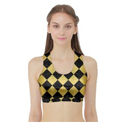 Square2 Black Marble & Gold Brushed Metal Sports Bra With Border