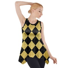 SQR2 BK MARBLE GOLD Side Drop Tank Tunic
