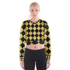 SQR2 BK MARBLE GOLD Women s Cropped Sweatshirt