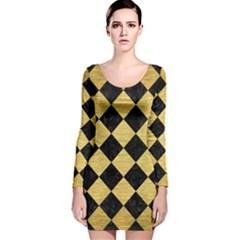 SQR2 BK MARBLE GOLD Long Sleeve Velvet Bodycon Dress
