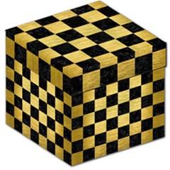 Square1 Black Marble & Gold Brushed Metal Storage Stool 12