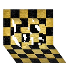 Square1 Black Marble & Gold Brushed Metal Love 3d Greeting Card (7x5)
