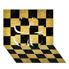 Square1 Black Marble & Gold Brushed Metal Clover 3d Greeting Card (7x5)