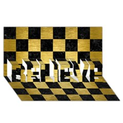 Square1 Black Marble & Gold Brushed Metal Believe 3d Greeting Card (8x4)