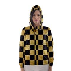 Square1 Black Marble & Gold Brushed Metal Hooded Wind Breaker (women)