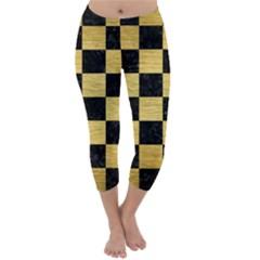 SQR1 BK MARBLE GOLD Capri Winter Leggings