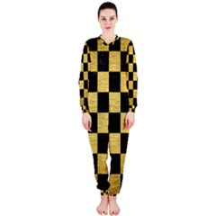 Square1 Black Marble & Gold Brushed Metal Onepiece Jumpsuit (ladies)