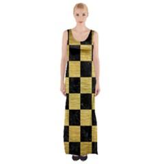 SQR1 BK MARBLE GOLD Maxi Thigh Split Dress