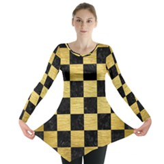 Square1 Black Marble & Gold Brushed Metal Long Sleeve Tunic