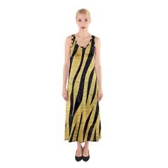 Skin3 Black Marble & Gold Brushed Metal (r) Sleeveless Maxi Dress