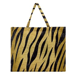 Skin3 Black Marble & Gold Brushed Metal (r) Zipper Large Tote Bag