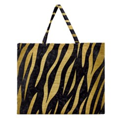 Skin3 Black Marble & Gold Brushed Metal Zipper Large Tote Bag