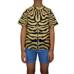 SKN2 BK MARBLE GOLD (R) Kid s Short Sleeve Swimwear