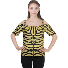 Skin2 Black Marble & Gold Brushed Metal (r) Cutout Shoulder Tee