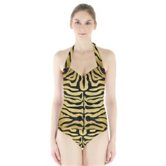 SKN2 BK MARBLE GOLD (R) Women s Halter One Piece Swimsuit