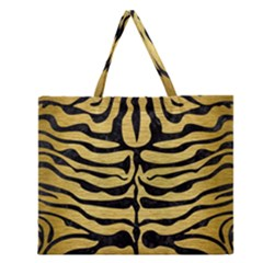 Skin2 Black Marble & Gold Brushed Metal (r) Zipper Large Tote Bag