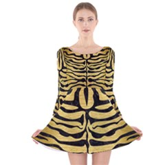 SKN2 BK MARBLE GOLD (R) Long Sleeve Velvet Skater Dress